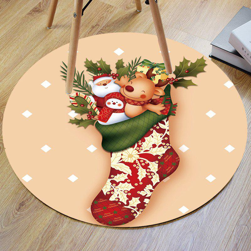 Christmas Stocking Deer Santa Claus Antislip Round Bath Rug