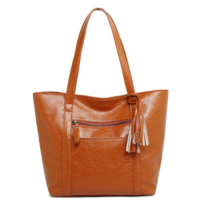 PU Leather Tassel Front Pocket Shoulder Bag - BROWN HORIZONTAL