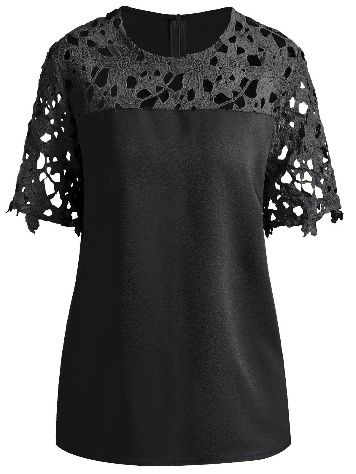 Plus Size Openwork Lace Insert Top - BLACK 5XL