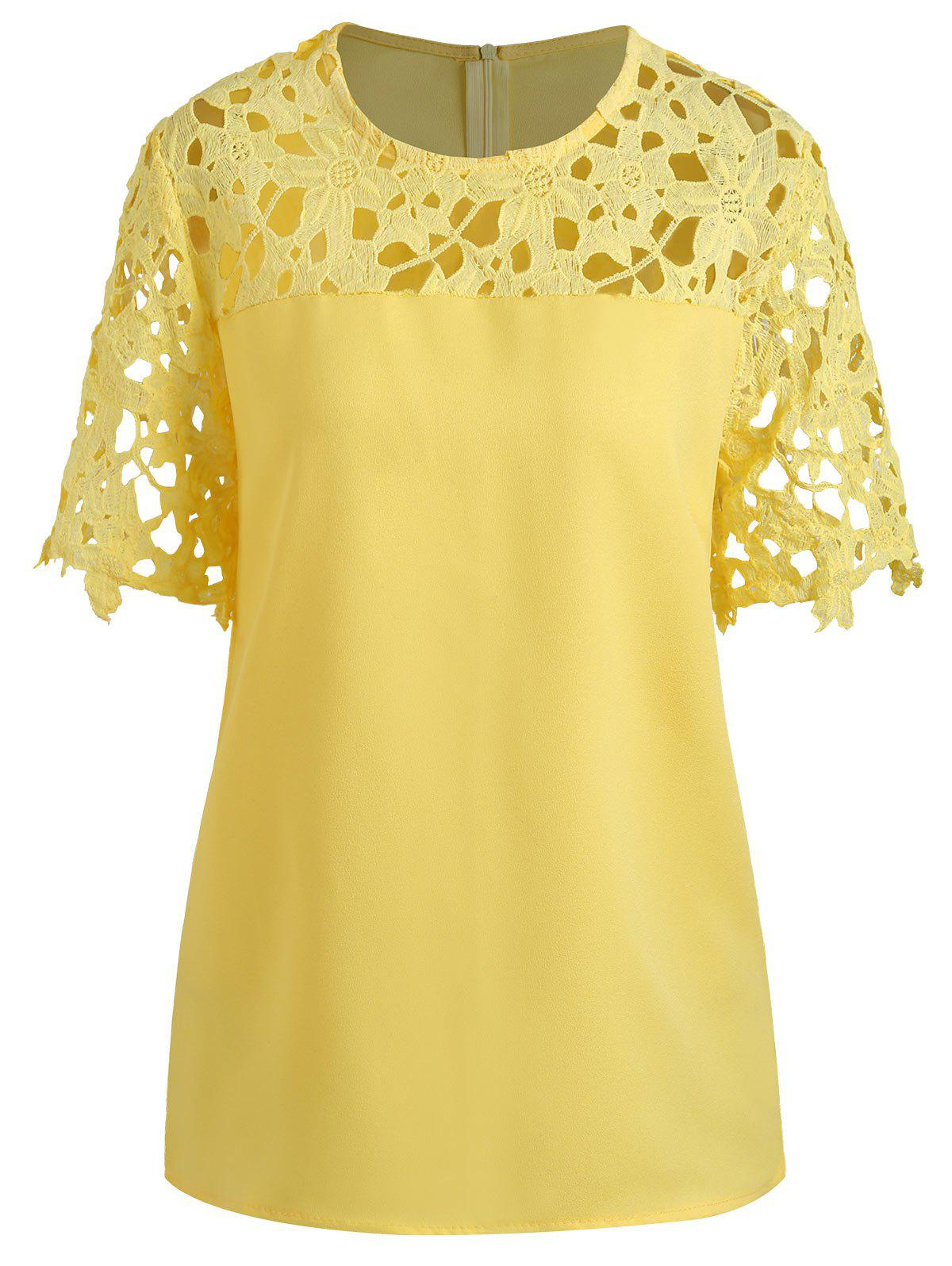 Plus Size Openwork Lace Insert Top - YELLOW 4XL