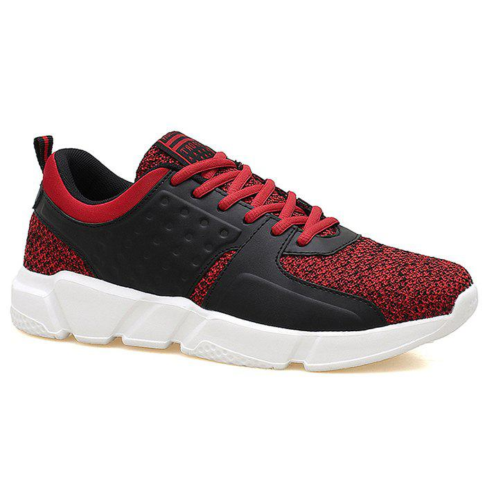 Color Block Round Toe Casual Sneakers - RED 41