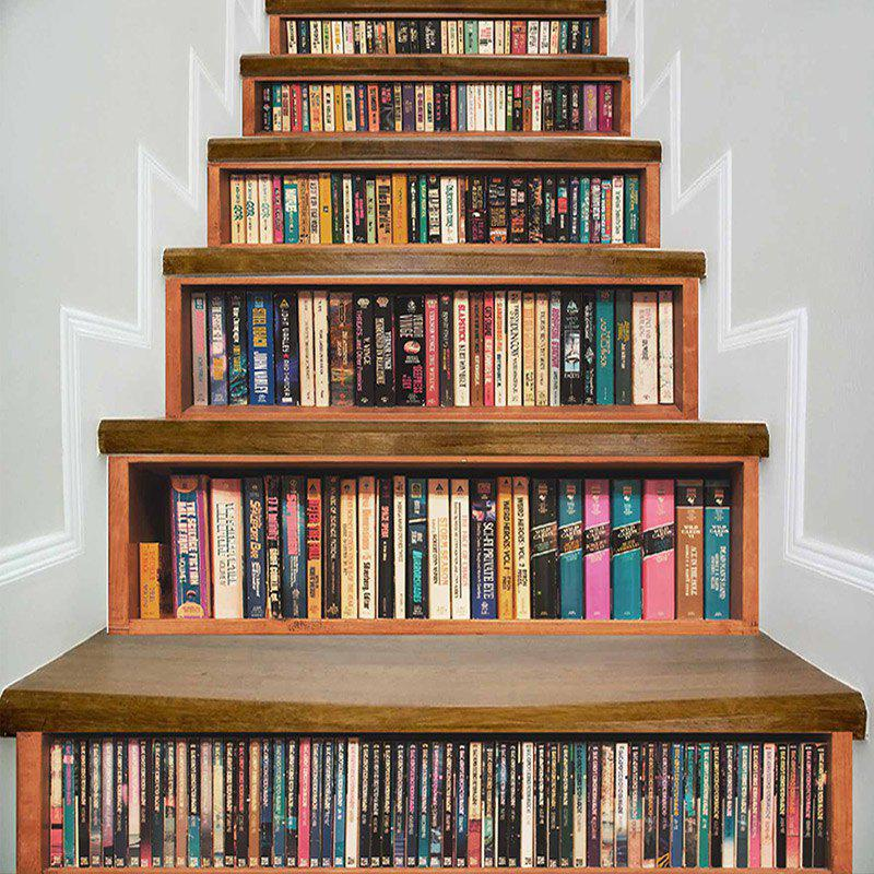Bookshelf Print Decorative DIY Stair Stickers - COLORMIX 100*18CM*6PCS