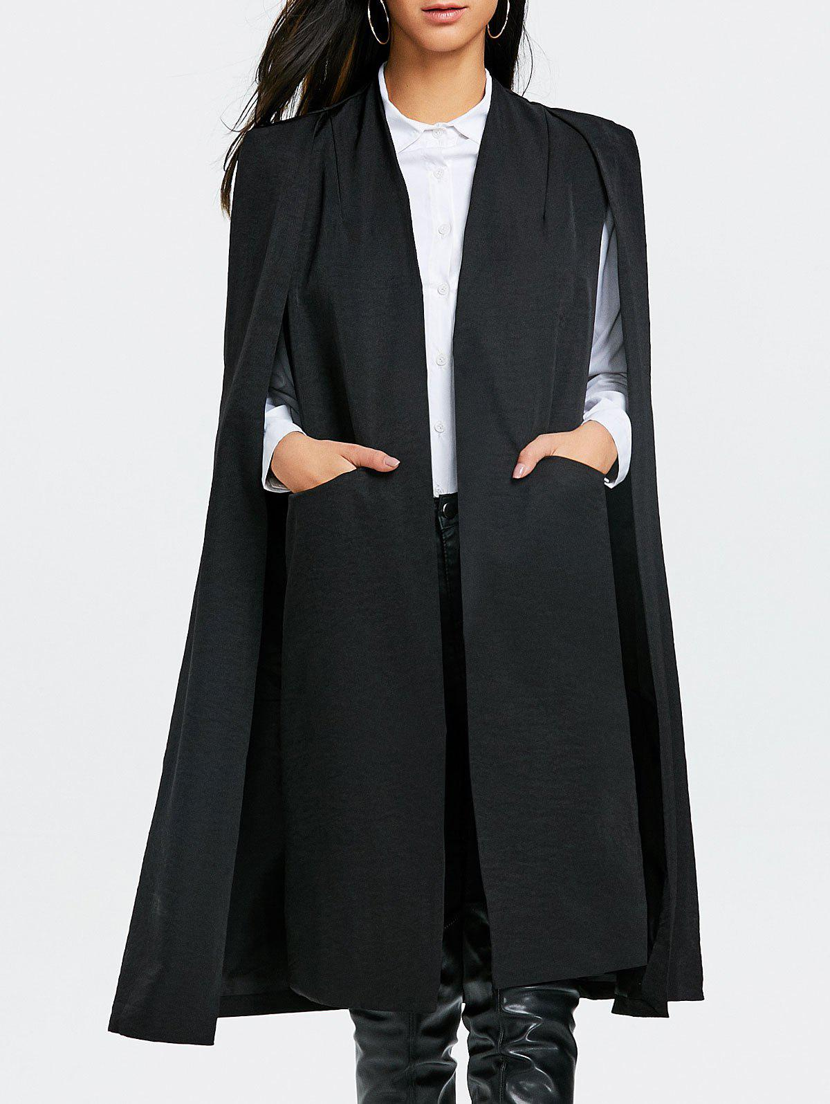 Slit Pocket Cape Longline Coat - BLACK S