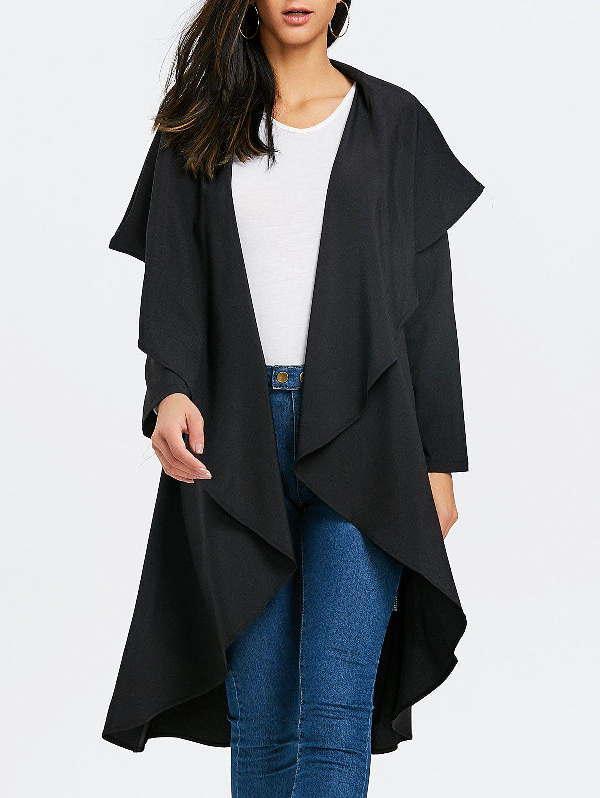Open Front Asymmetric Duster Coat - BLACK M