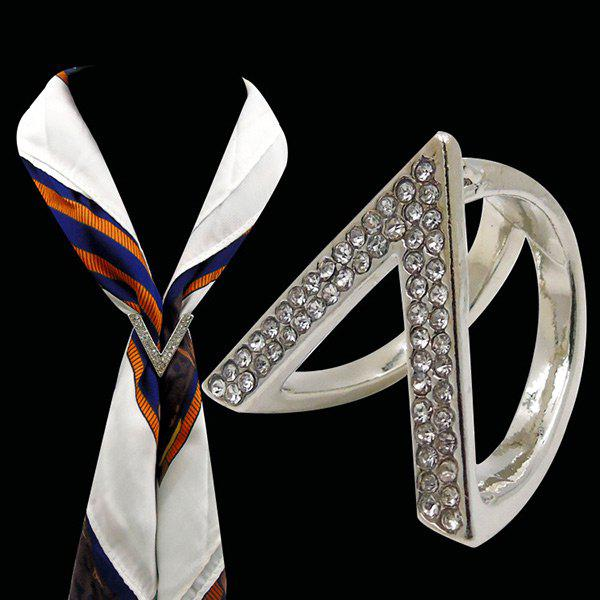 Rhinestone V-Shaped Brooch