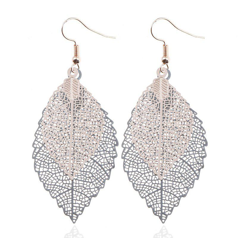 Leaf Shap Hollow Out Drop Earrings - BLACK / GOLDEN