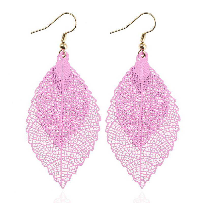 Leaf Shap Hollow Out Drop Earrings - PINK
