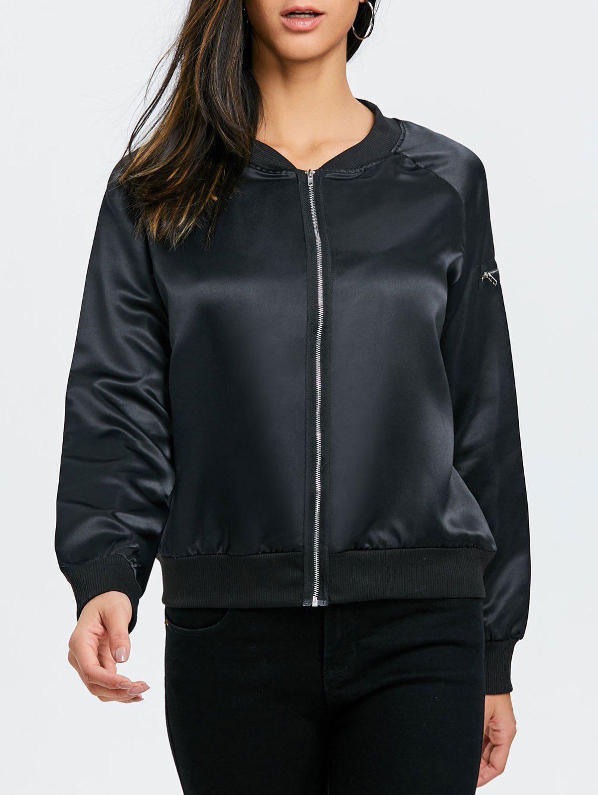 Zip Fly Bomber Jacket - Noir XL