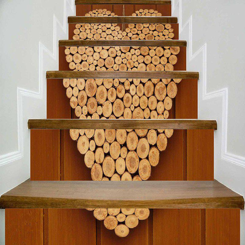 Valentine's Day Wood Heart Print Decorative DIY Stair Stickers - WOOD COLOR 100*18CM*6PCS