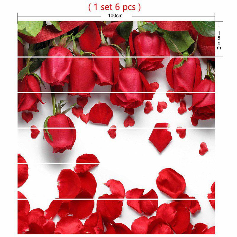 Valentines Day Roses Pattern Stair Riser Stickers - ROSE MADDER 100*18CM*6PCS