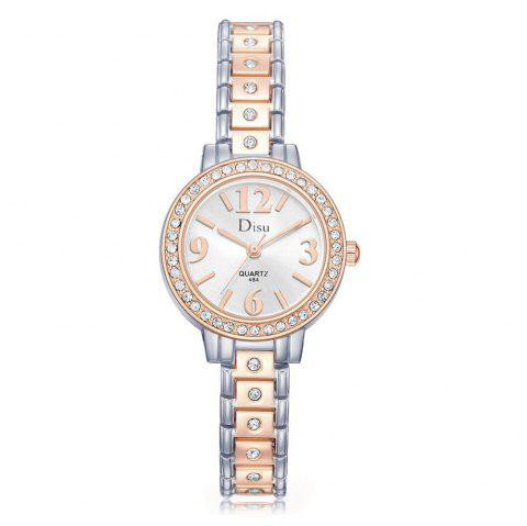 Number Rhinestone Alloy Strap Watch - SLIVER/GOLD