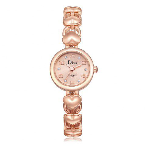 Heart Alloy Strap Number Watch - ROSE GOLD