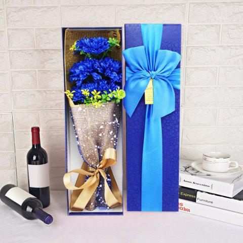 5pcs Carnation Flower Bouquet Scented Soap Gift Box - BLUE 34*10*5.4CM