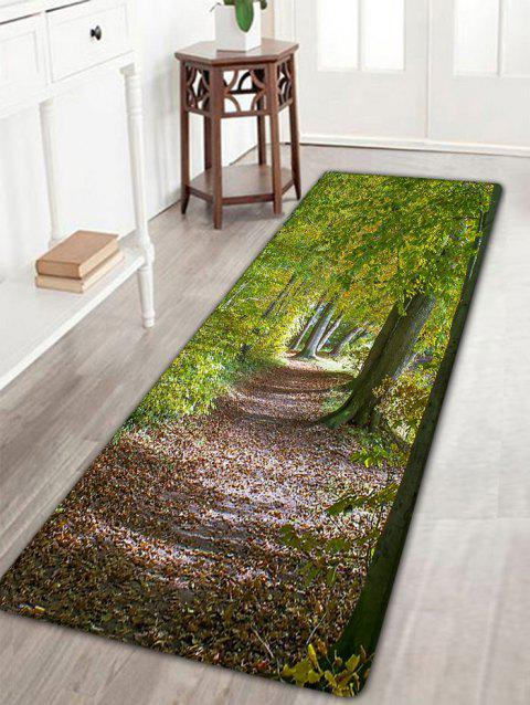 Forest Path Pattern Flannel Antislip Bath Rug - GREEN W16 INCH * L47 INCH