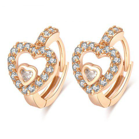 Valentine's Day Rhinestone Heart Hoop Earrings - GOLDEN