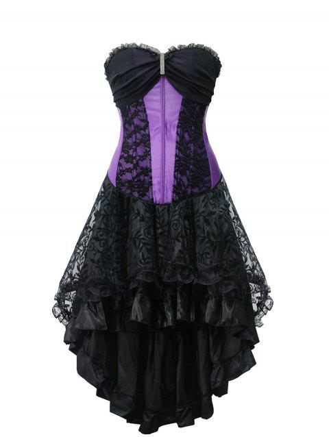 High Low Strapless Corset Dress - PURPLE 2XL