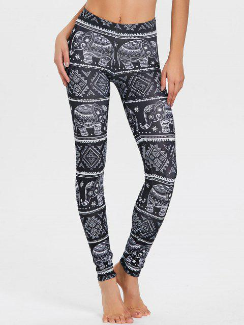 Elephant Print African Leggings - BLACK XL