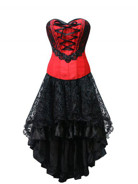 Lace Up High Low Strapless Corset Dress - RED L