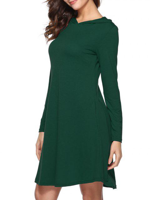 Hooded Tunic Dress with Pocket - GREEN L