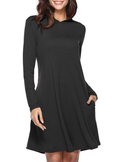 Hooded Tunic Dress with Pocket - BLACK L