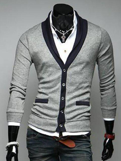 V Neck Color Block Button Up Cardigan - LIGHT GRAY L
