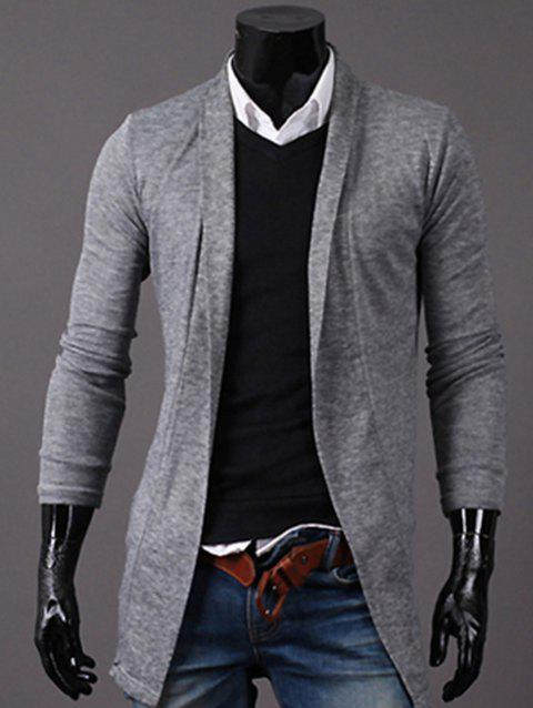 Longline Knitted Open Front Cardigan - LIGHT GRAY XL