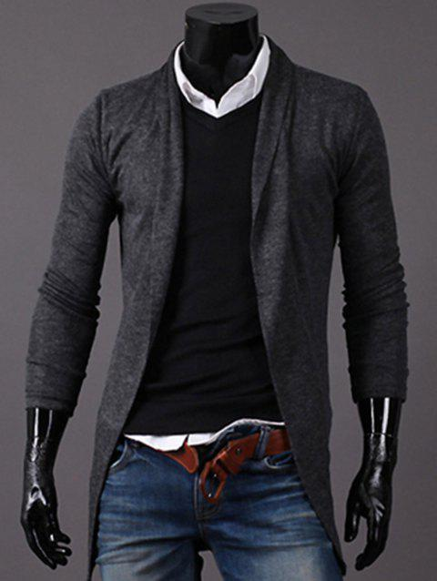 Longline Knitted Open Front Cardigan - DEEP GRAY XL