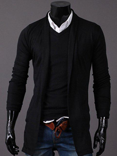 Longline Knitted Open Front Cardigan - BLACK 2XL