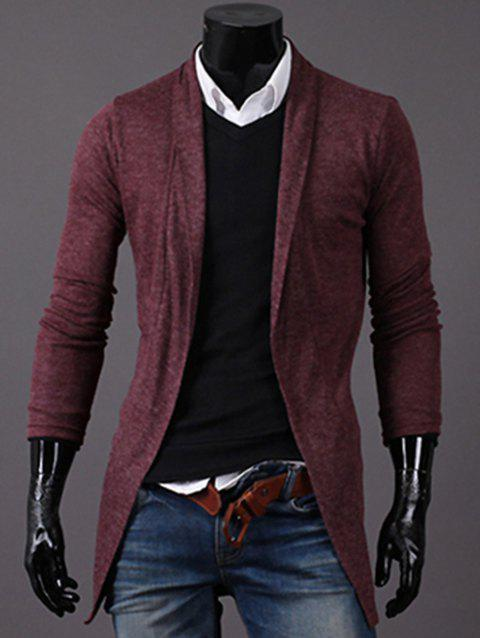 Longline Knitted Open Front Cardigan - WINE RED XL