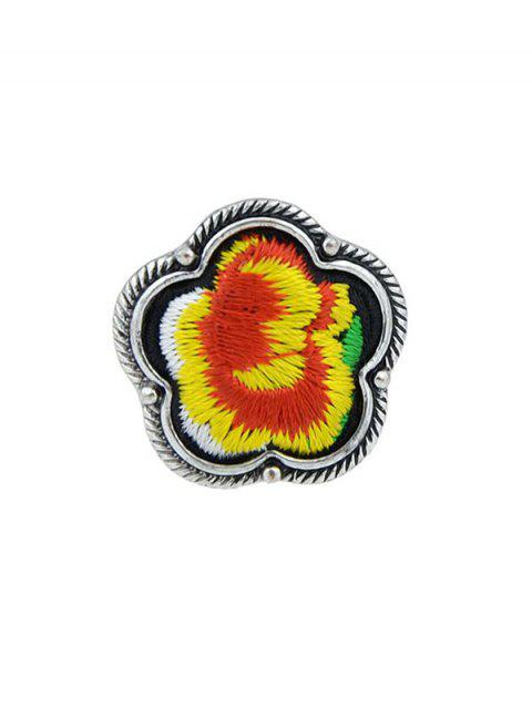 Floral Embroidery Decorated Ring - YELLOW ONE-SIZE