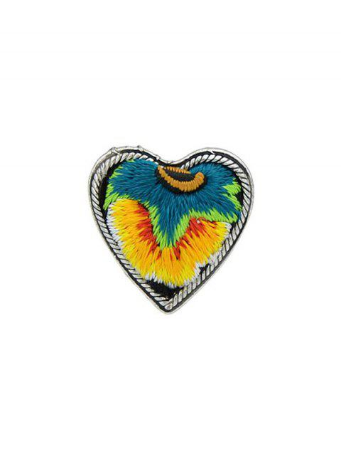 Love Heart Shape Embroidery Ring - YELLOW ONE-SIZE