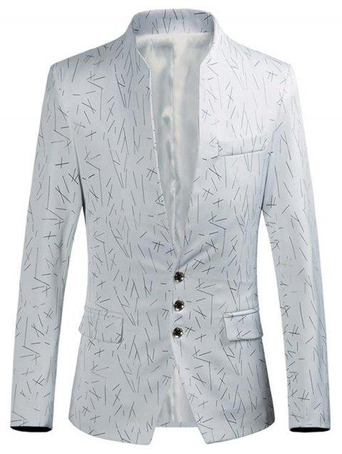 Single Breasted Golden Printed Blazer - WHITE XL