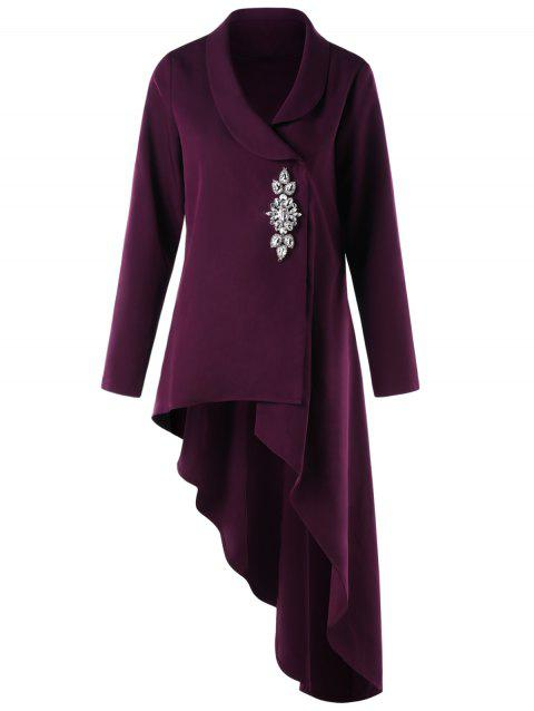Rhinestone Shawl Collar High Low Coat - PURPLE L