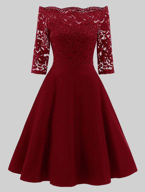 41% OFF] 2019 Plus Size Vintage Lace Off Shoulder Dress In WINE RED ...