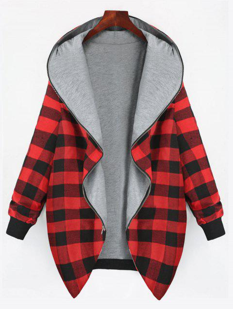 Plus Size Full Zip Up Plaid Hooded Coat - RED 2XL
