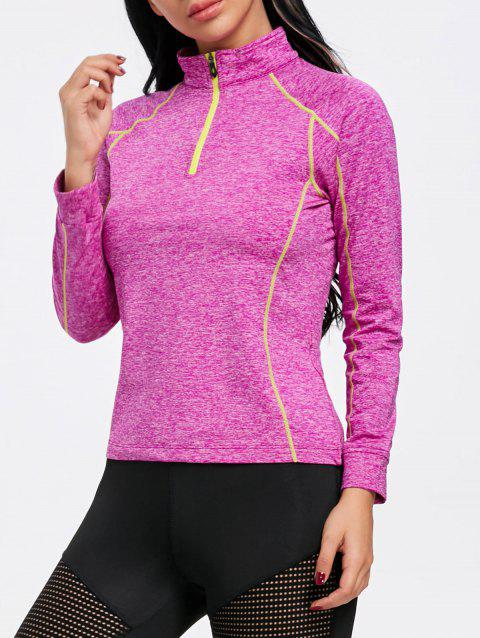Sports Contrast High Neck Half Zip T-shirt - ROSE RED L