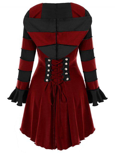 High Low Hooded Corset Double Breasted Coat - WINE RED XL