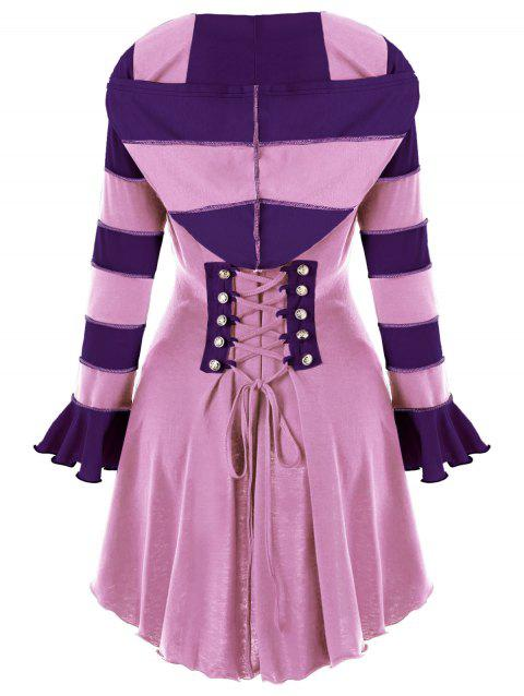 High Low Hooded Corset Double Breasted Coat - PINK L