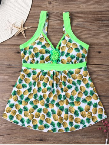 Pineapple Printed Empire Waist Tankini
