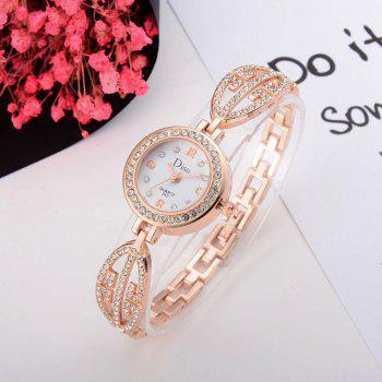 Number Quartz Rhinestoned Watch - WHITE / GOLD