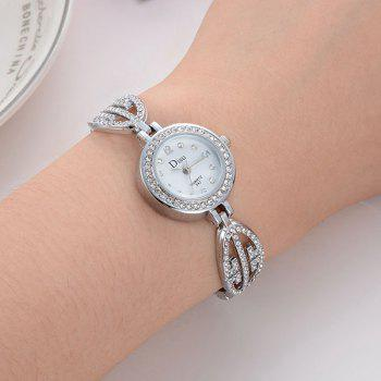 Number Quartz Rhinestoned Watch - SILVER