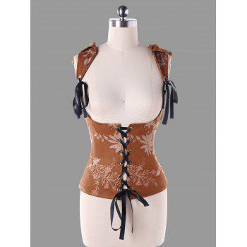 Hooded Jacquard Corset Top - BROWN M