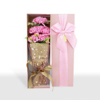 5pcs Carnation Flower Bouquet Scented Soap Gift Box - PINK 34*10*5.4CM
