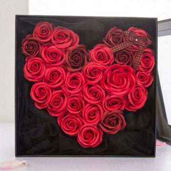 Soap Roses Flower Heart Valentine's Day Gift with Box - RED/BLACK