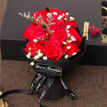 11 Pcs Soap Rose Flowers In A Box Valentine's Day - RED