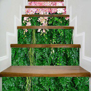 Flowers and Plants Patterned Decorative Stair Stickers - GREEN AND PINK GREEN/PINK