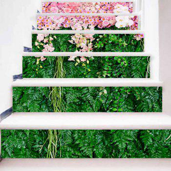 Flowers and Plants Patterned Decorative Stair Stickers - GREEN/PINK 100*18CM*6PCS