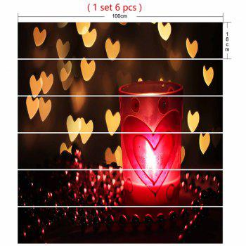 Valentine's Day Hearts and Candle Lamp Pattern Stair Stickers - COLORMIX COLORMIX