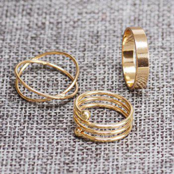 Circle Simple Cuff Finger Ring Set - GOLDEN GOLDEN