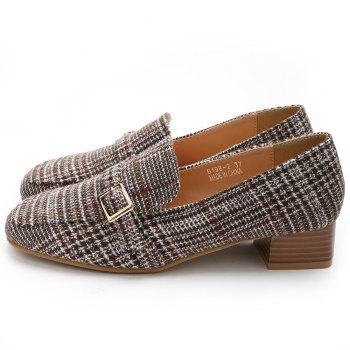 Square Toe Buckle Strap Loafers - APRICOT 38